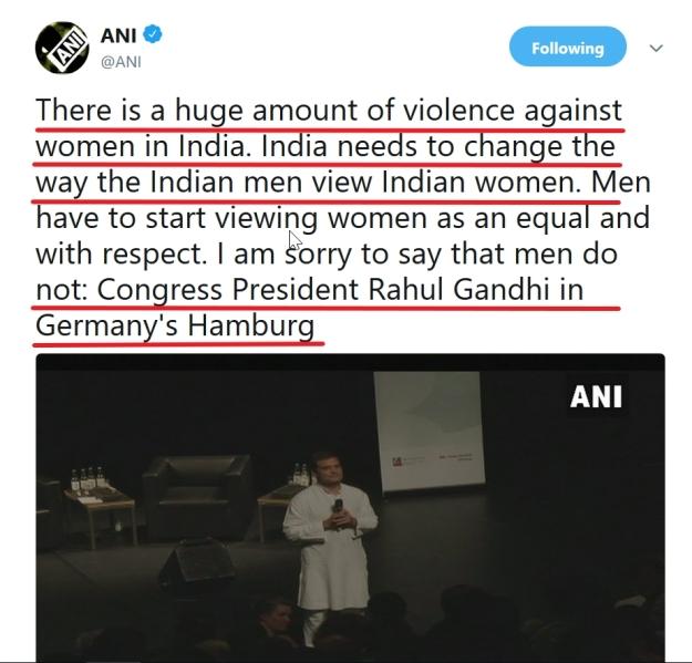 rahul says indian men violent